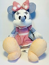 """DISNEY PARKS EXCLUSIVE Minnie Mouse 15"""" SEERSUCKER PLUSH DOLL NEW WITH TAG - $39.19"""