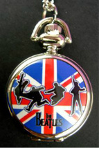 "THE BEATLES BRITISH FLAG POCKET WATCH NECKLACE    Silvertone, 1"" Diamete... - £9.98 GBP"