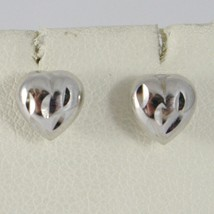 18K WHITE GOLD EARRINGS WITH VERY SHINY HEART LOVE WORKED MADE IN ITALY 0.28 IN image 1