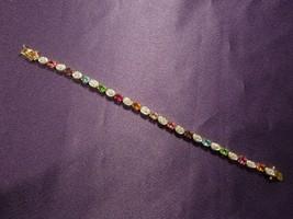 "Joan Rivers Gold Tone Multi Color Oval Rhinestone 7 1/2"" Tennis Bracelet - $22.28"