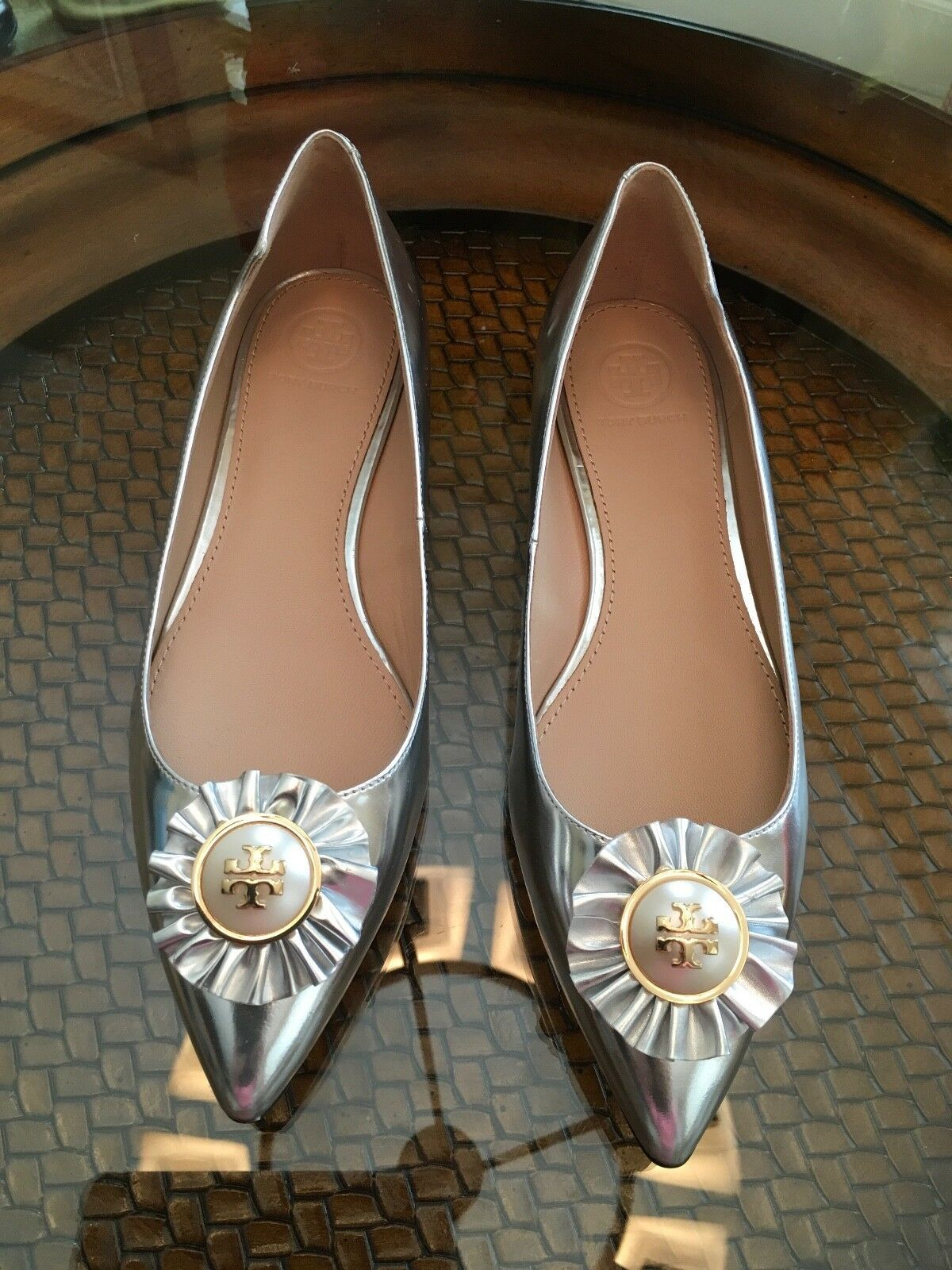 a9277bfd97d5 Tory Burch Melody Metallic Leather Flats and 50 similar items