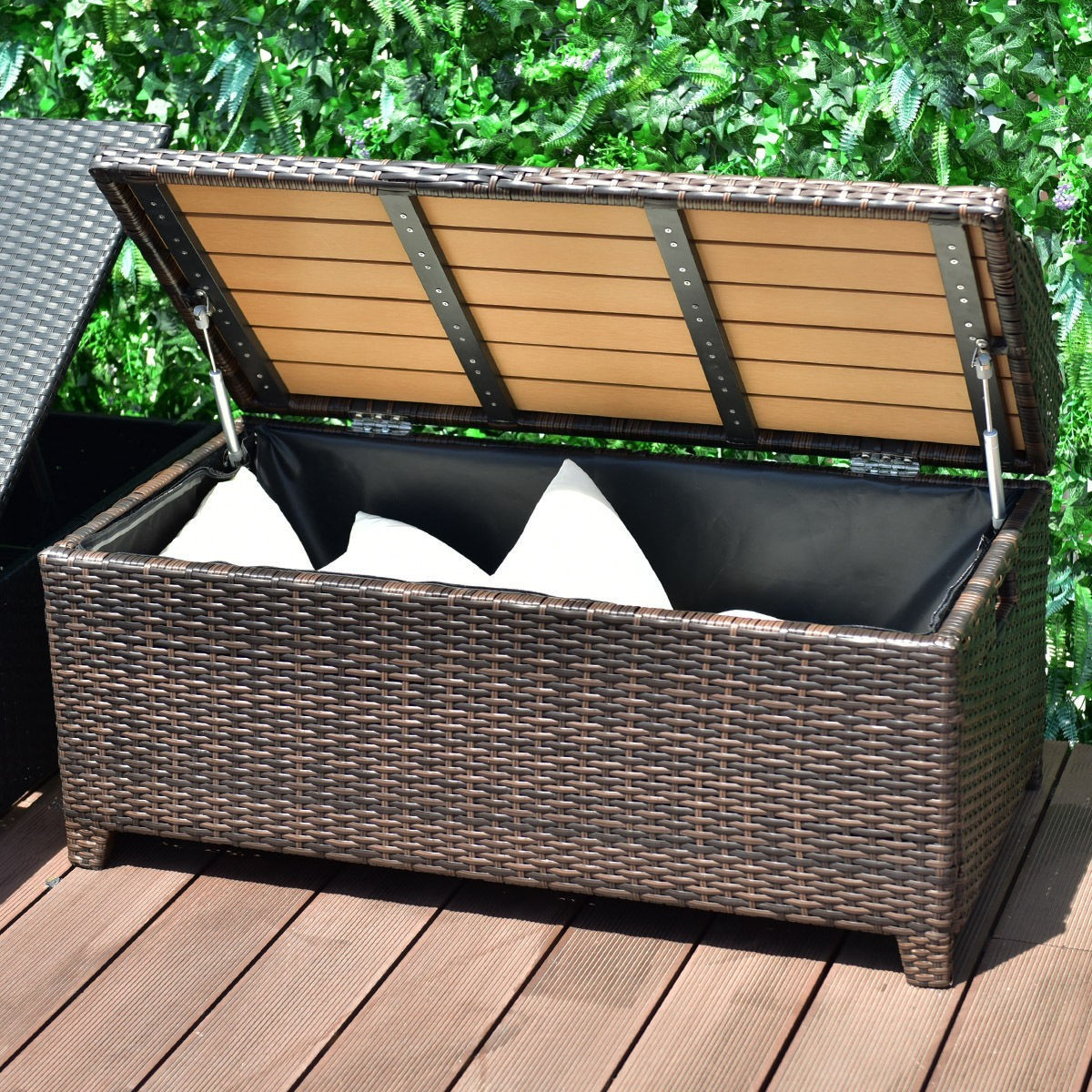 50 Gallon Patio Garden Rattan Wicker Storage Bench