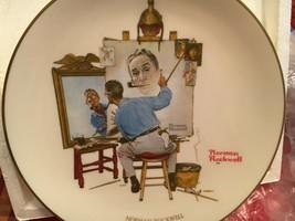 Norman Rockwell Triple Self Portrait Vintage Gorham Collector's Memorial Plate - $26.18