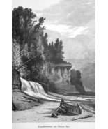 LAKE SUPERIOR Chapel Beech Rock & Beach Canoe - 1883 German Print - $14.40