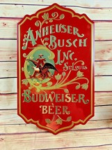 "Vintage Budweiser ""King of Beers"" Red Tin Bar Wall Sign Man Cave tavern - $55.00"