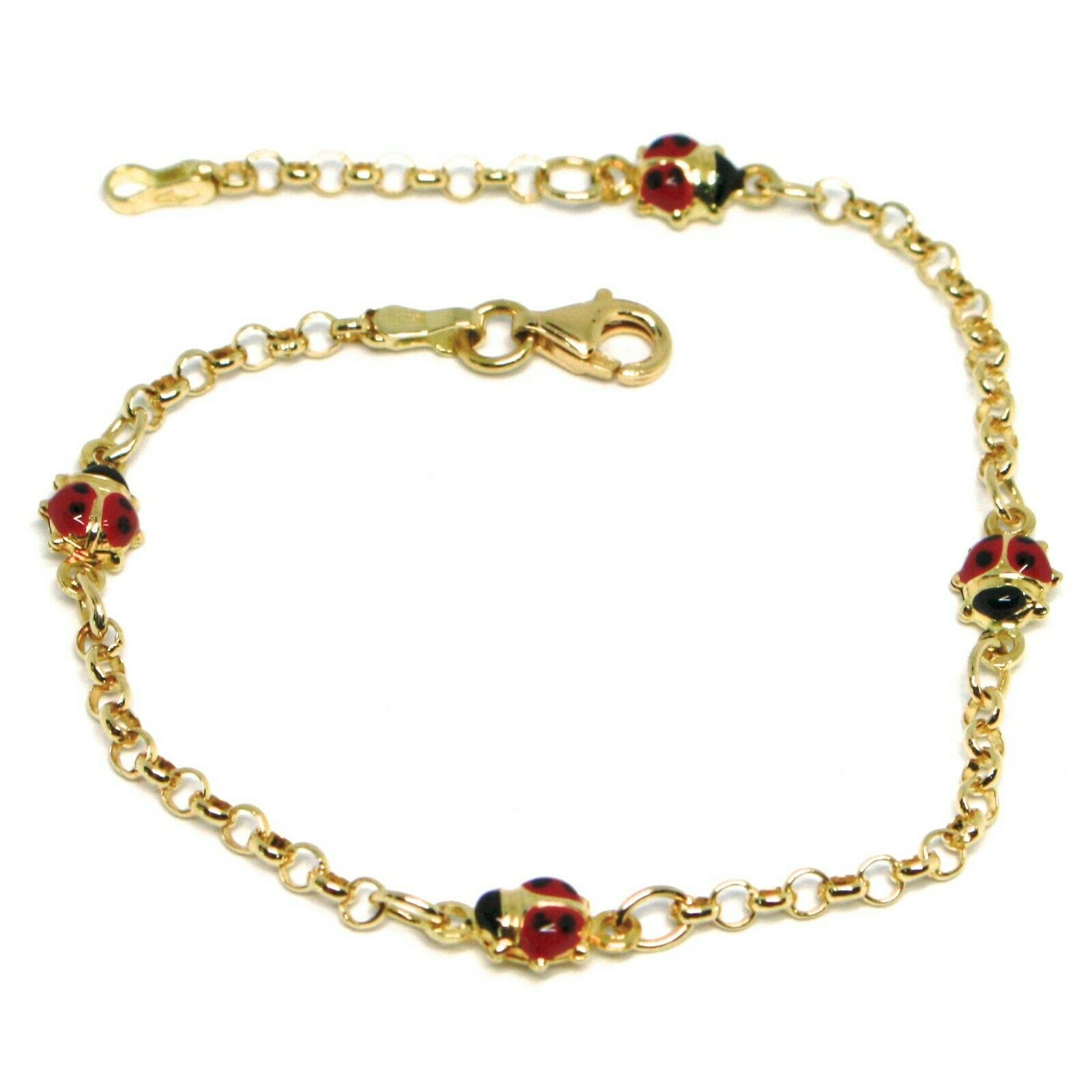 Bracelet Yellow Gold 18K 750, for Girl, 4 Ladybugs Enamel, Alternate, 17 CM