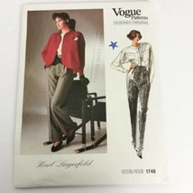 Vogue 1748 Karl Lagerfeld Size 8 Pants Top Jacket Designer Original New ... - $19.99