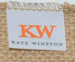 Kate Winston Brand Brown Burlap Monogram Black White H Garden Flag image 4