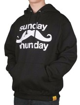 Team Phun Mens Sunday Fun Day Mustache Black White Pullover Hoodie Moustache NWT image 2
