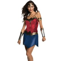 Adult Womens Deluxe Wonder Woman Justice League Costume Dress Crown Gauntlets