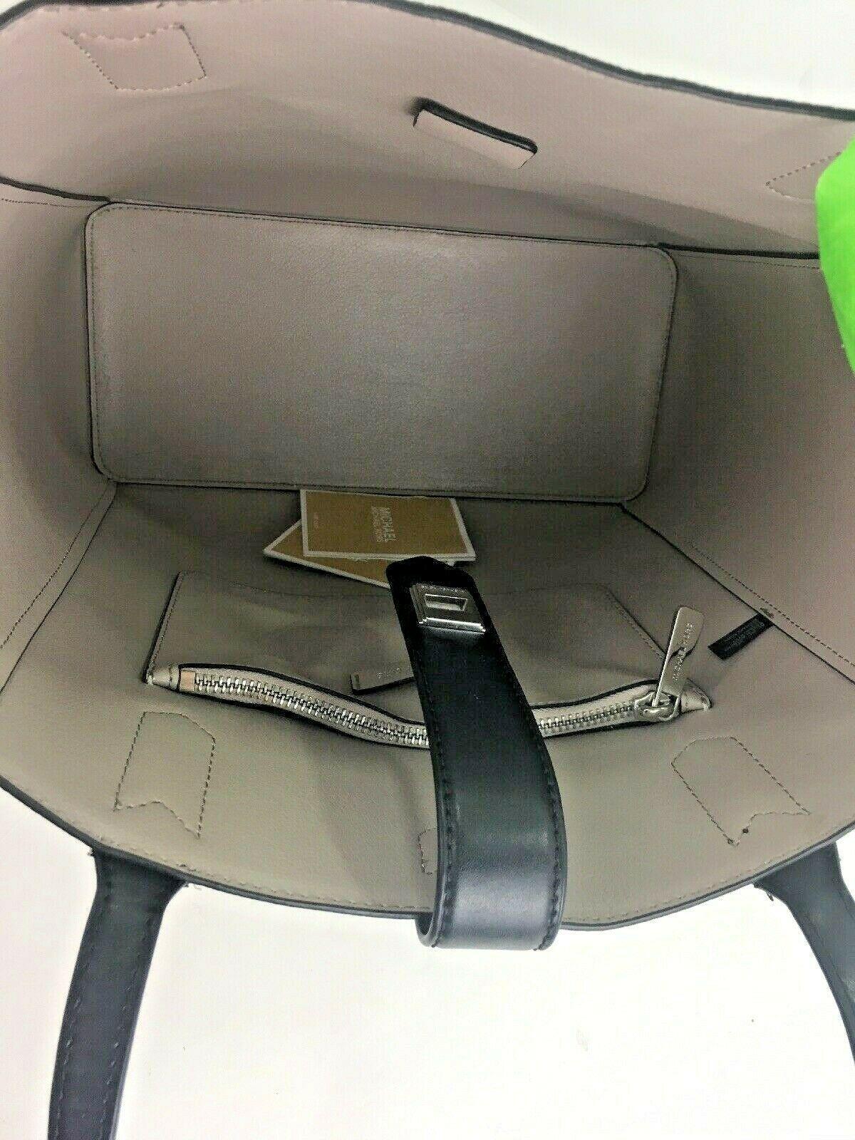 Michael Kors Bag Cassie Tote Medium NS Tote Leather White Gray Black B2R image 10