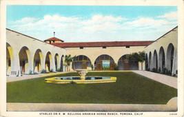 K.W Kellogg Arabian Horse Ranch Stables Pomona California Curt Teich Pos... - $6.88