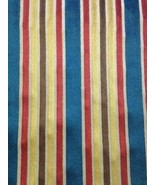 21 yds Cut Velvet Upholstery Fabric Federal Stripe Blue Red Gold Brown O... - $658.35