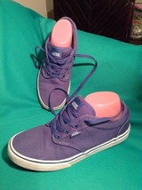 VANS OFF THE WALL UNISEX YOUTH BLUE SKATE SHOES KIDS CANVAS LACE UPS SNE... - $19.79