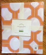 Pottery Barn Nova Duvet Cover Orange Queen 2 Standard Shams Geometric Clementine - $85.42
