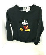 Disney sequin Mickey Mouse Black Long Sleeve Shirt Top Size Medium - $44.55
