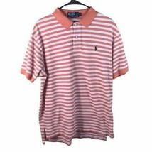Polo By Ralph Lauren Mens Shirt Orange White Stripe Short Sleeve 100% Co... - $25.00