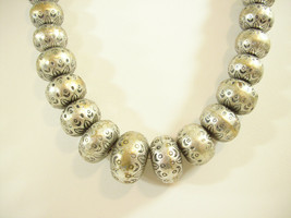 COLDWATER CREEK Metal Bali Style Beads Necklace Strand Graduated Silver ... - $14.84