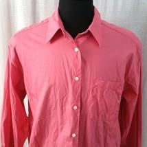 Eddie Bauer Womens Large Pink Dress Shirt Work Blouse Top Button Front Long Slv - $16.99