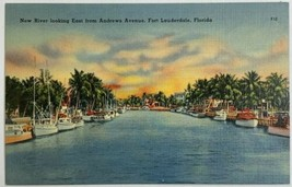 Old VTG Linen Era Postcard New River Looking East Fort Lauderdale, Florida - $9.79