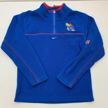 Nike Quarter Zip Fleece Jacket Boys Medium KU Jayhawks Blue Long Sleeve ... - $18.95