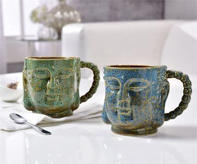 Set of 2 - Buddha Design Mugs - Green & Blue -Porcelain Holds 13.5 oz  NEW