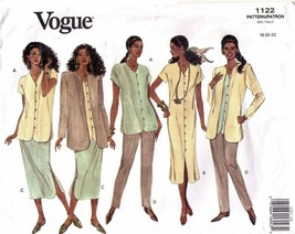1993 Misses JACKET, DRESS/TOP, SKIRT & PANTS Vogue Pattern 1122-v Sz 18-... - $12.00