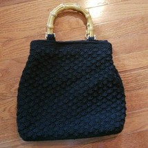 Liz Claiborne Black Handbag with Wooden Handles - $15.99