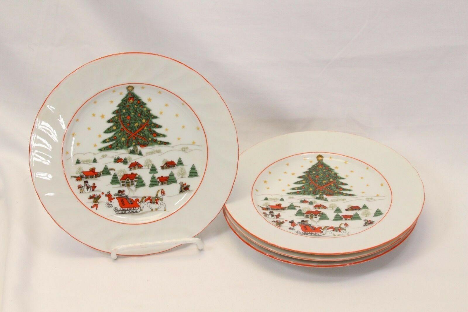 Kopin Xmas Pleasure Dinner Plates Scalloped Rim Lot of 16 image 2