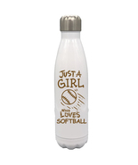 Just a Girl Who Loves Softball 17oz Stainless Steel Water Bottle Brown Text - $34.95