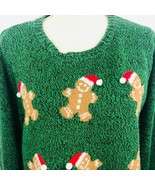Karen Scott Womens XL Green Holiday Ugly Christmas Sweater Gingerbread Men  - $49.49