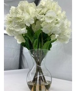 Nearly Natural Large White Hydrangea with Clear Vase Silk Flower Arrange... - $118.75
