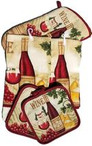 WINE & CHEESE KITCHEN SET 5pc Towels Mitt Potholders Red Vineyard - $12.99