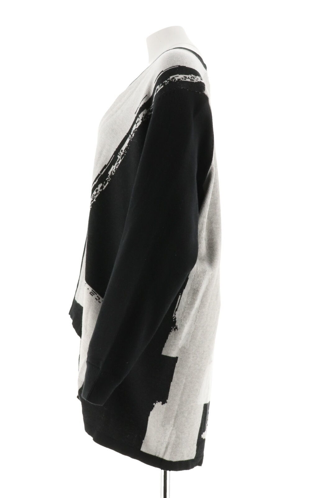 H Halston Long Slv Jacquard Sweater Cardigan Black M NEW A301941 image 2