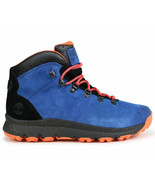 TIMBERLAND MEN'S WORLD HIKER BLUE ORANGE PADDED Ankle Shoes BOOTS A1RFR ... - $84.99