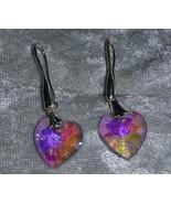 pink Crystal heart earrings pierced hook silver tone Downton Abbey - $13.50