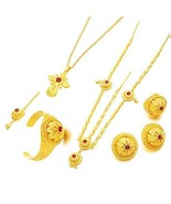 24K Gold Plated Red Stone Ethiopian Cross Pendant Women Jewelry Sets Hab... - $26.12