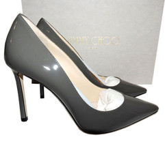 Jimmy Choo ROMY Pointy Toe Pumps Grey Taupe Patent Leather Heels 100 Sho... - $299.91
