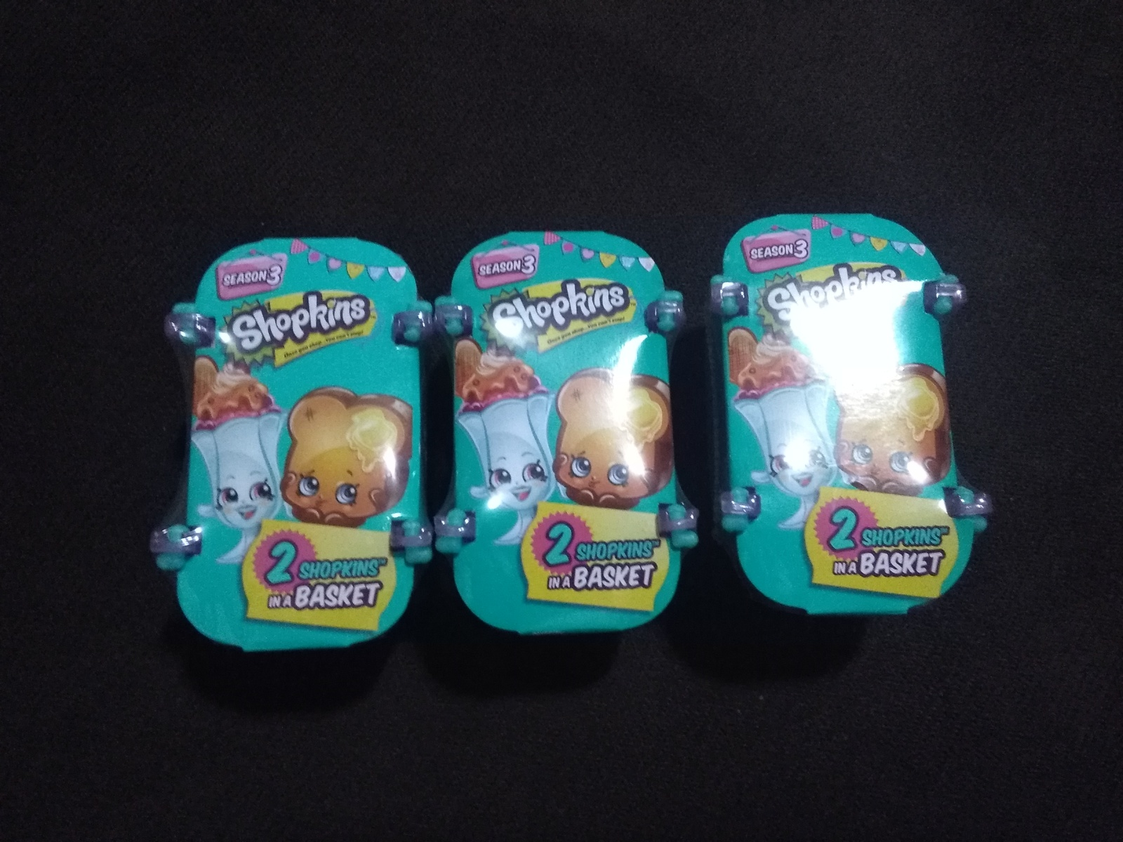 Shopkins 2-Pack Shopping Basket SEASON 3 Limited Edition- Lot of 3