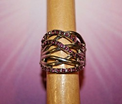 Pink Rhinesthones - Silver - Stretch Ring - Paparazzi Jewelry - New - $7.82