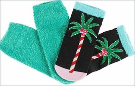 NEW HUE 2-pack Holiday Christmas Palm Tree Footsie no show soft Socks Gift Box