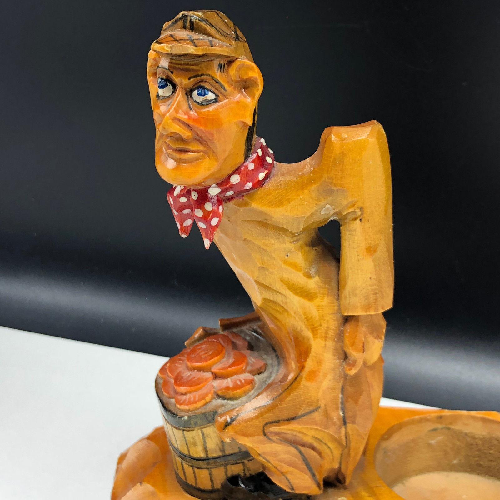 KREUZBERG RHON CARVED GERMANY WOOD FIGURINE statue candle holder butt humor hand