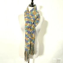 """NEW Colorful HANDMADE Purple Teal Brown FRINGE Long 90"""" Rectangle Scarf - $18.99"""