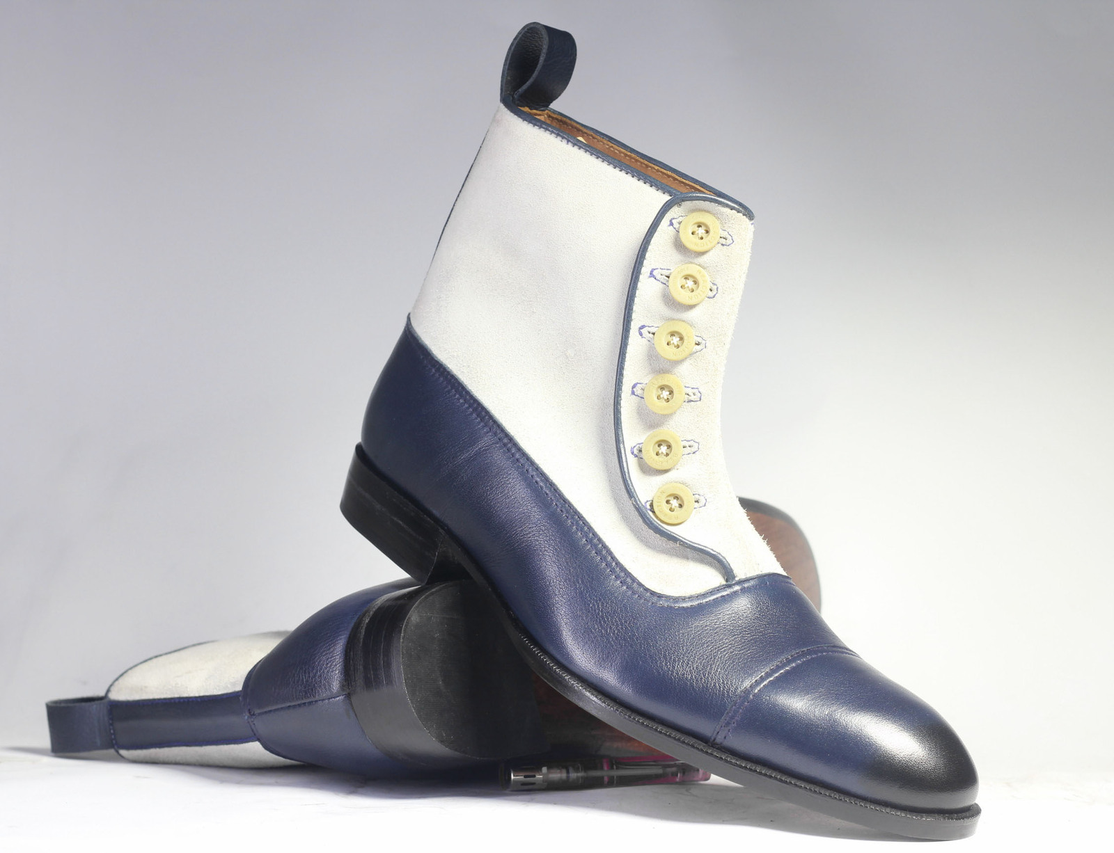 Handmade Men's White and Blue High Ankle Two Tone Buttons Dress/Formal Leather &
