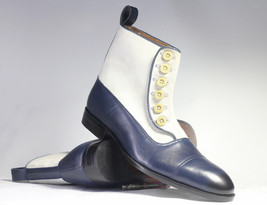 Handmade Men's White and Blue High Ankle Two Tone Buttons Dress/Formal Leather & image 1