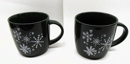 Pair Matching STARBUCKS Coffee Mugs Dark Green w/ Snowflakes Christmas V... - $17.81