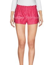 Elastic Waist Women Mini Leather Shorts