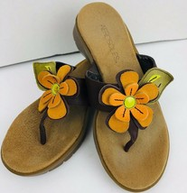 Aerosoles Womens Size 5.5 B Orange Flower Wedge Sandals Brown Flip Flop  - $34.64