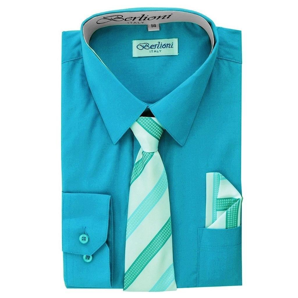 BERLIONI ITALY TODDLERS KIDS BOYS LONG SLEEVE DRESS SHIRT TIE & HANKY TURQUOISE