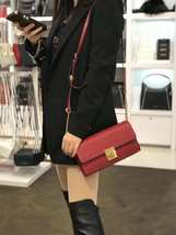 NWT Michael Kors Mindy Leather Crossbody / Clutch in scarlet red - $69.29